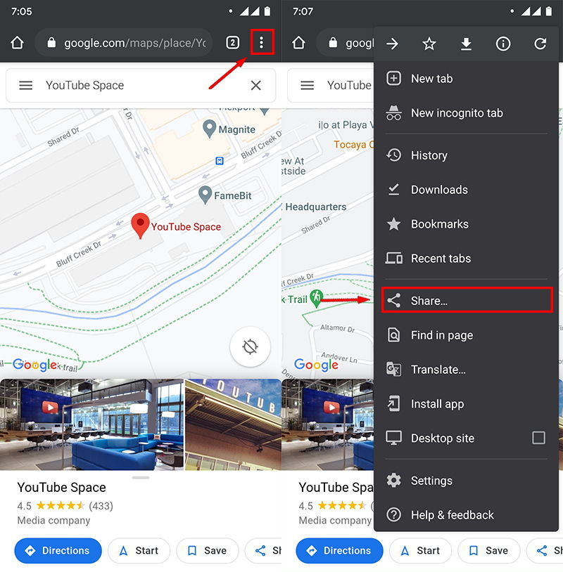 How to save Google Maps location as PDF on Android